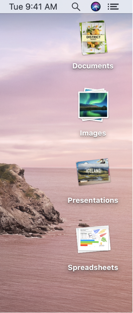 A Mac desktop with four stacks — for documents, images, presentations and spreadsheets — along the right edge of the screen.
