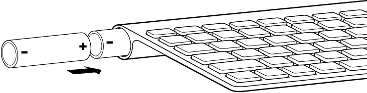 Batteries being inserted into the battery compartment of a keyboard.