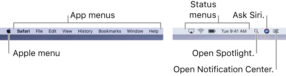 The menu bar. On the left are the Apple menu and app menus. On the right are status menus, and the Spotlight, Siri, and Notification Center icons.
