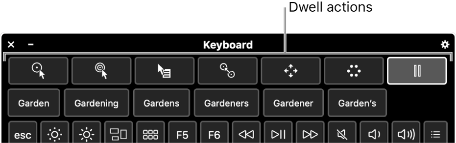 Dwell action buttons located across the top of the Accessibility Keyboard.