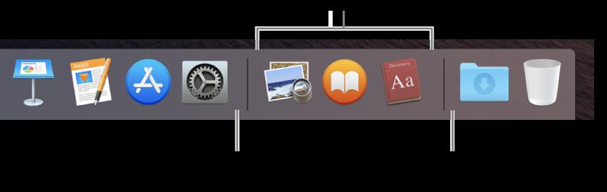 El extremo derecho del Dock. Añade apps a la izquierda de la sección de apps usadas recientemente y carpetas a la derecha de esa sección, donde están situadas la pila Descargas y la Papelera.