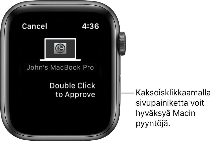 AppleWatch, jossa näkyy hyväksyntäpyyntö MacBookProsta.