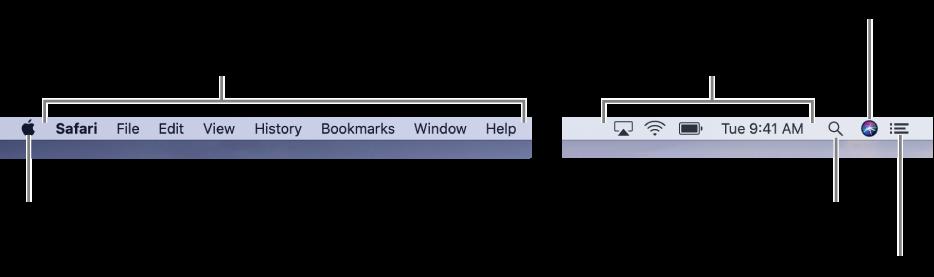 La barre des menus. Le menu Pomme et les menus d'app se trouvent à gauche. Les icônes des menus d'état, Spotlight, Siri et du Centre de notifications se trouvent à droite.