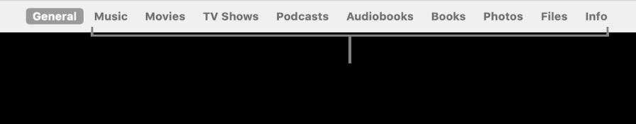 La barre des boutons affichant le bouton Général et les boutons de contenus comme la musique, les films, les sériesTV et bien plus encore.