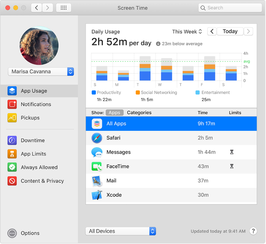 La sous-fenêtre «Utilisation des apps» de «Temps d'écran», avec l'utilisation des apps pour un enfant membre d'un groupe de partage familial. L'icône «Temps d'arrêt» s'affiche en regard des apps qui ont atteint leur durée limite.