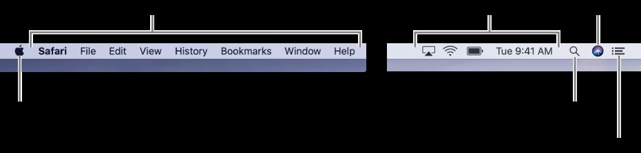 मेनू बार। बाएँ ओर Apple मेनू और ऐप मेनू हैं। दाईं ओर स्थित स्थिति मेनू और Spotlight, Siri और सूचना केंद्र आइकॉन हैं I