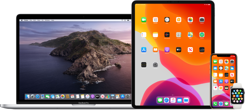 Mac gép, iPad, iPhone és Apple Watch.