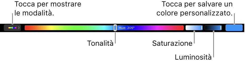 Touch Bar che mostra i cursori per tonalità, saturazione e luminosità per la modalità HSB. All'estremità sinistra, il pulsante per mostrare tutte le modalità. All'estremità destra, il pulsante per salvare un colore personalizzato.