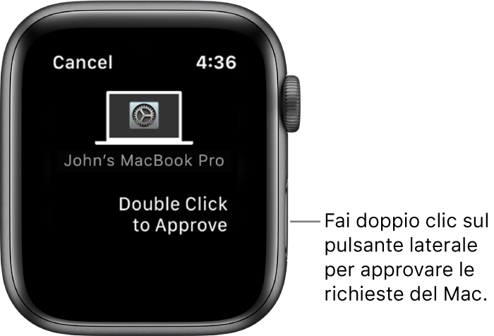 Apple Watch che mostra una richiesta di approvazione da MacBook Pro.