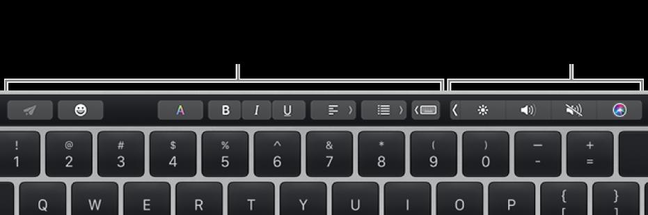 Touch Bar。左側にはアプリケーションや作業によって異なるボタンが、右側には折りたたまれたControl Stripがあります。