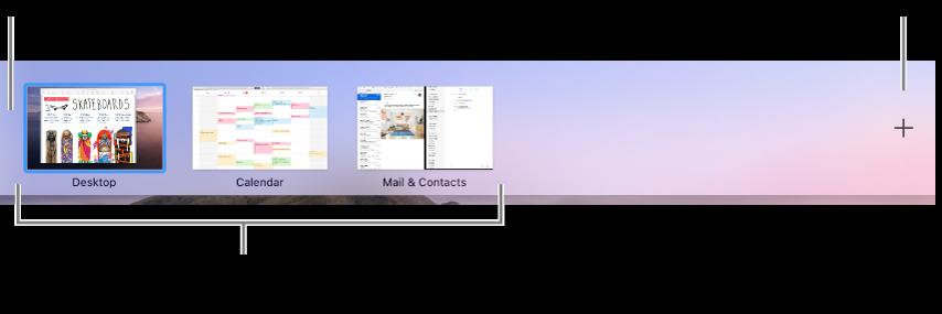 デスクトップ領域、フルスクリーン表示または分割表示のアプリケーション、操作スペースを作成するための「追加」ボタンが表示されているSpacesバー。