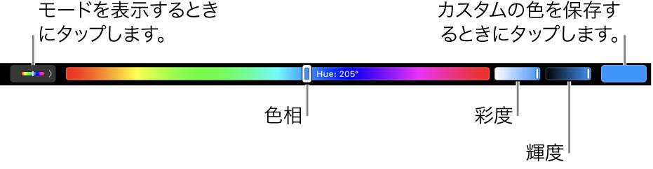 HSBモード向けの色相、彩度、および明度のスライダが表示されたTouch Bar。左端にはすべてのモードを表示するためのボタン、右にはカスタムカラーを保存するためのボタンがあります。