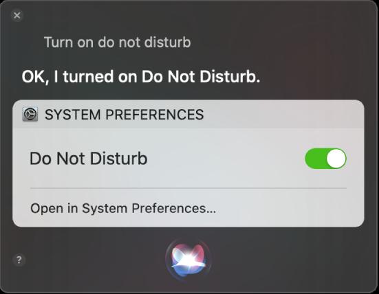 """""""방해금지 모드 켜줘""""라는 작업을 완료하라는 요청을 표시하는 Siri 윈도우."""