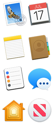 Symbolen voor Mail, Agenda, Notities, Contacten, Herinneringen, Berichten, Thuis en Nieuws