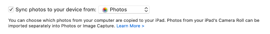 Het aankruisvak 'Synchroniseer foto's naar je apparaat vanaf' is te zien en 'Foto's' is gekozen in het venstermenu.