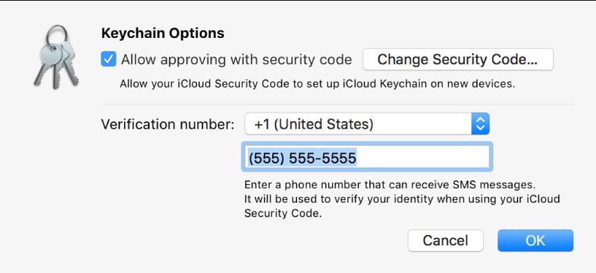 Dialoogvenster met de opties van iCloud-sleutelhanger, met de optie 'Sta toestemming met beveiligingscode toe' geselecteerd, de knop om de beveiligingscode te wijzigen en velden om het controlenummer te wijzigen.