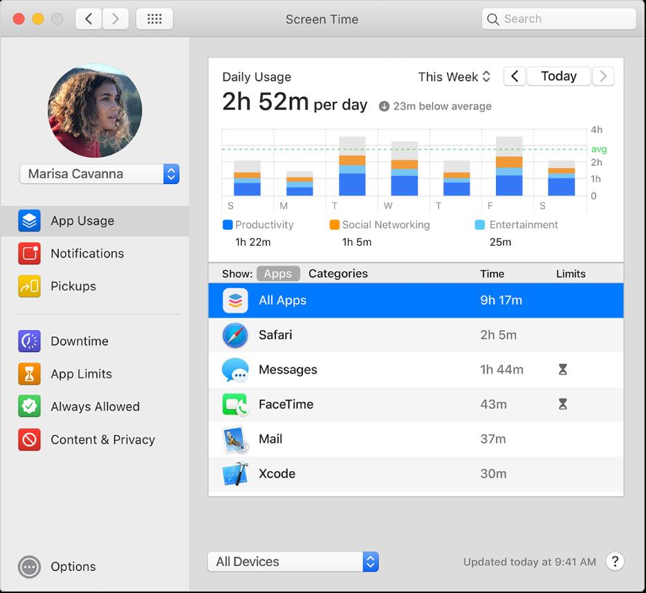Het paneel 'Appgebruik' in het voorkeurenvenster van Schermtijd met het appgebruik van een kind in een Delen met gezin-groep. Het symbool voor apparaatvrije tijd wordt weergegeven naast apps die de tijdslimiet hebben bereikt.