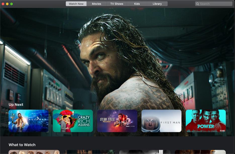 Het AppleTV-venster met een film die aansluitend wordt afgespeeld in de categorie 'Nu kijken'.