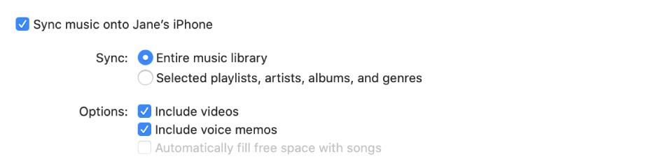Het aankruisvak 'Synchroniseer muziek naar [apparaat]' bevat extra opties waarmee je aangeeft of je de hele bibliotheek of alleen bepaalde onderdelen wilt synchroniseren en of je ook video's en gesproken memo's wilt synchroniseren.