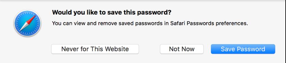 Een dialoogvenster waarin je wordt gevraagd of je het wachtwoord voor een website wilt bewaren.