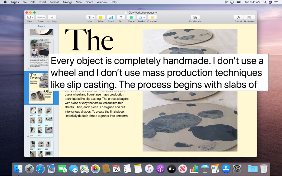 Een Pages-document met het venster voor de vergrote weergave van tekst onder de aanwijzer, waarbij de tekst in het document groter wordt weergegeven.