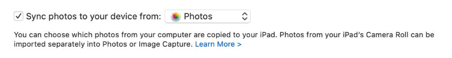 Kryssrutan Synkronisera bilder till enheten från visas med Bilder (foton) valt i popupmenyn.