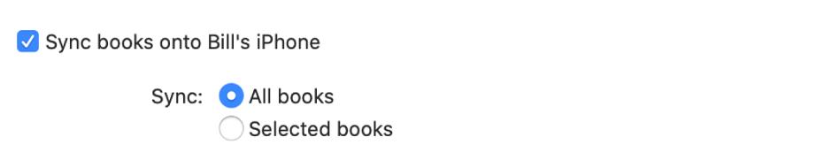 Kryssrutan Synkronisera böcker till enhet är markerad, och knappen Alla böcker är vald medan knappen Markerade böcker inte är vald.
