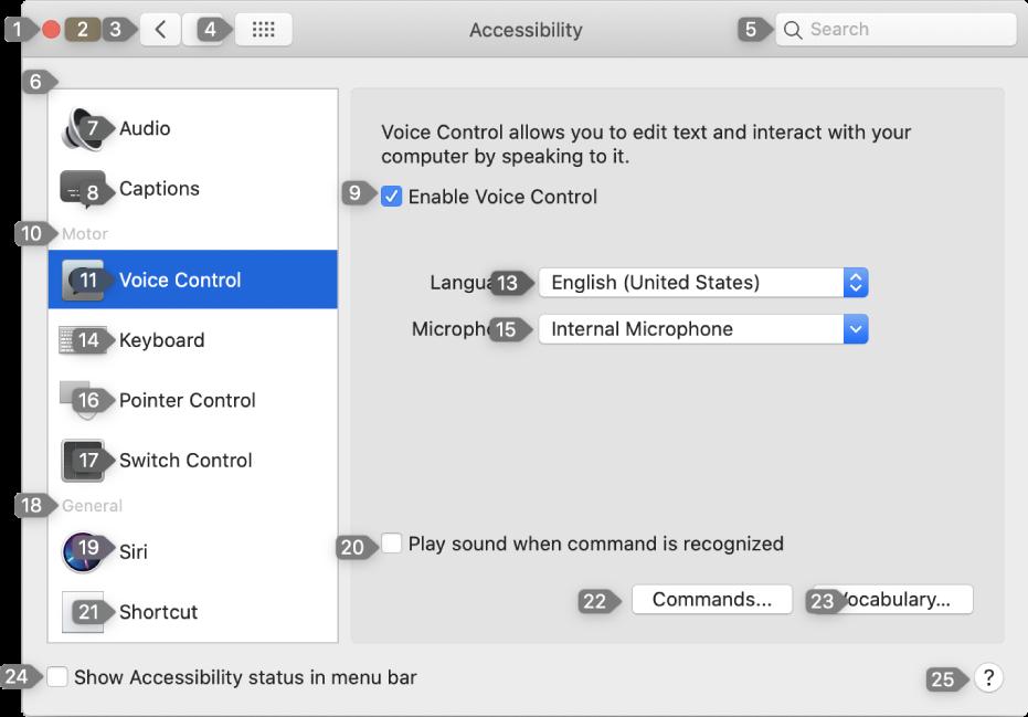 En inställningspanel med en siffra bredvid varje element i gränssnittet som du kan interagera med.