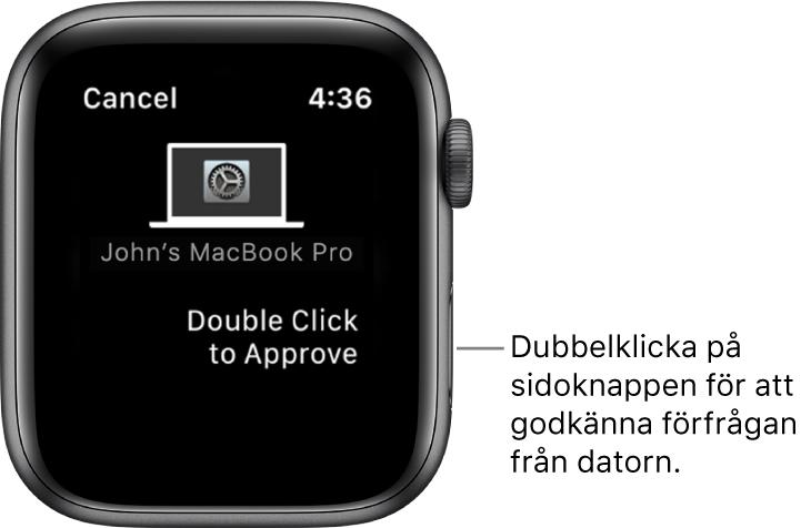 AppleWatch med en förfrågan om godkännande från en MacBookPro.