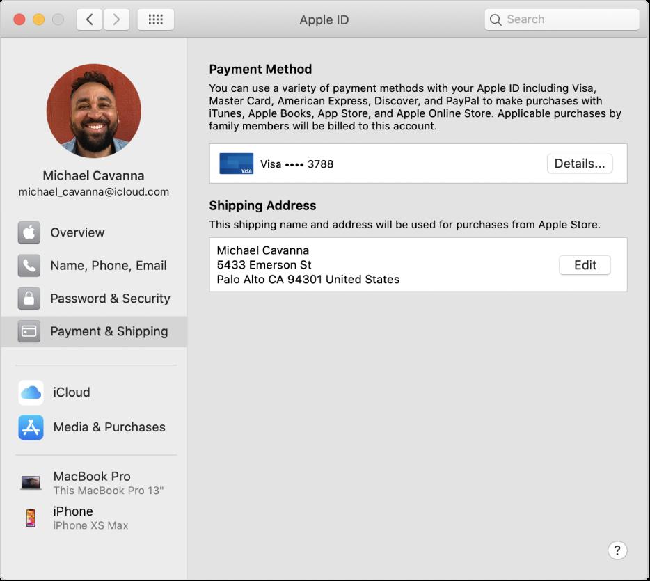 Inställningspanelen Apple-ID med ett sidofält med olika typer av kontoalternativ som du kan använda och inställningspanelen Betalning och leverans för ett befintligt konto.