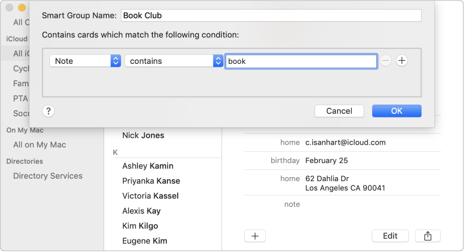 """The window for adding a Smart Group, with a group named """"Book Club"""" that includes contacts who have the word """"book"""" in their Note field."""