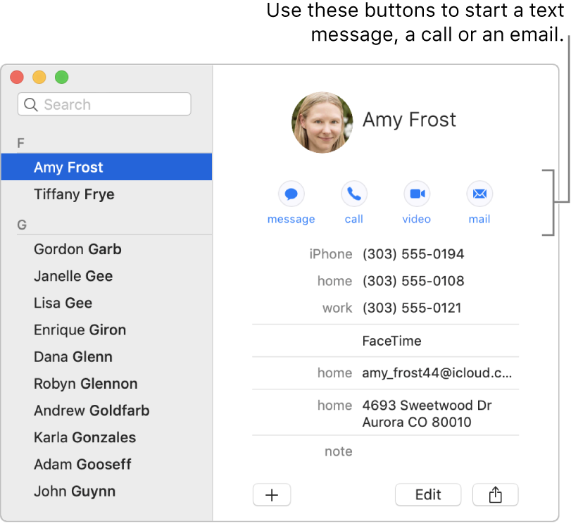 A contact card showing the buttons located below the contact's name. You can use these buttons to start a text message, a phone, audio or video call, or an email.
