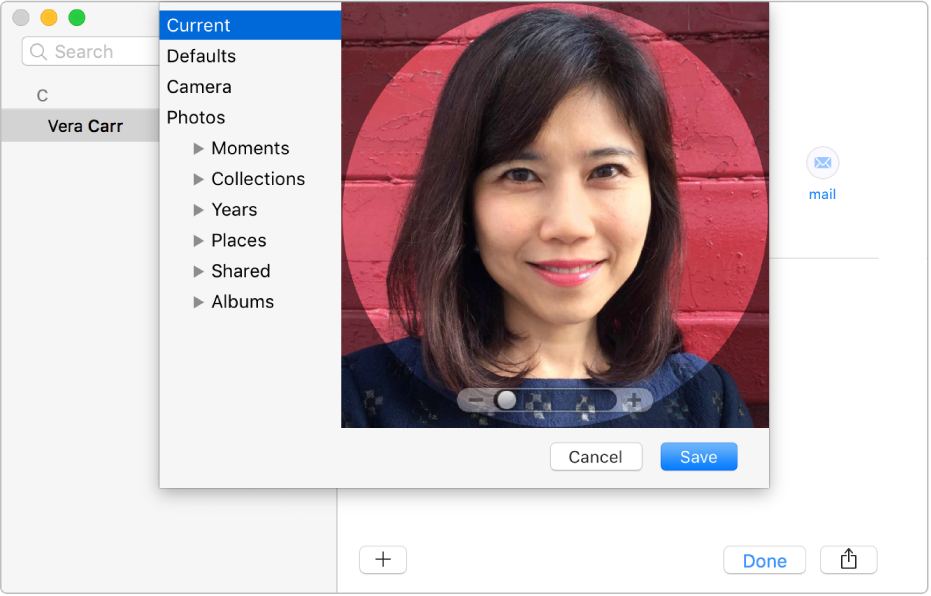The window for adding or changing a contact's picture: on the left is the list of sources, such as Defaults or Camera, and on the right is the current picture, with a slider for zooming the picture.