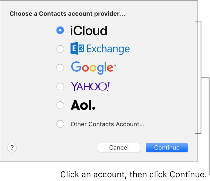 The window for adding internet accounts to the Contacts app.