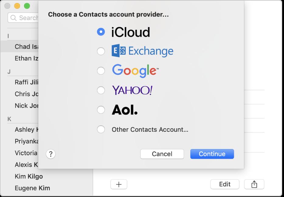 La ventana para agregar cuentas de Internet a la app Contactos.