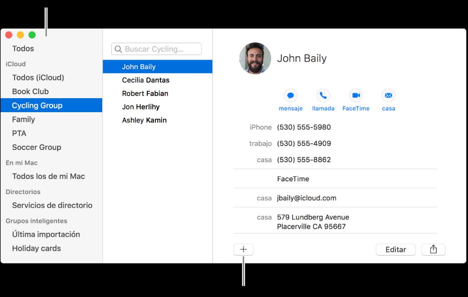 La ventana Contactos que muestra la barra lateral con grupos, como un club de lectura y un grupo de ciclismo, y el botón para añadir un nuevo grupo en la parte inferior de una tarjeta de contacto.