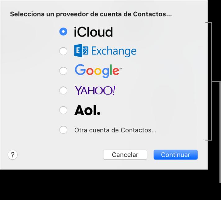 La ventana para añadir cuentas de internet a la app Contactos.