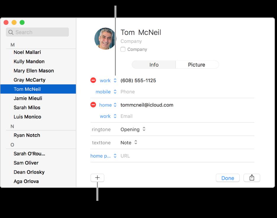 La fiche d'un contact affichant une étiquette de champ qui peut être modifiée et le bouton en bas de la fiche pour ajouter un champ contact, groupe ou fiche.