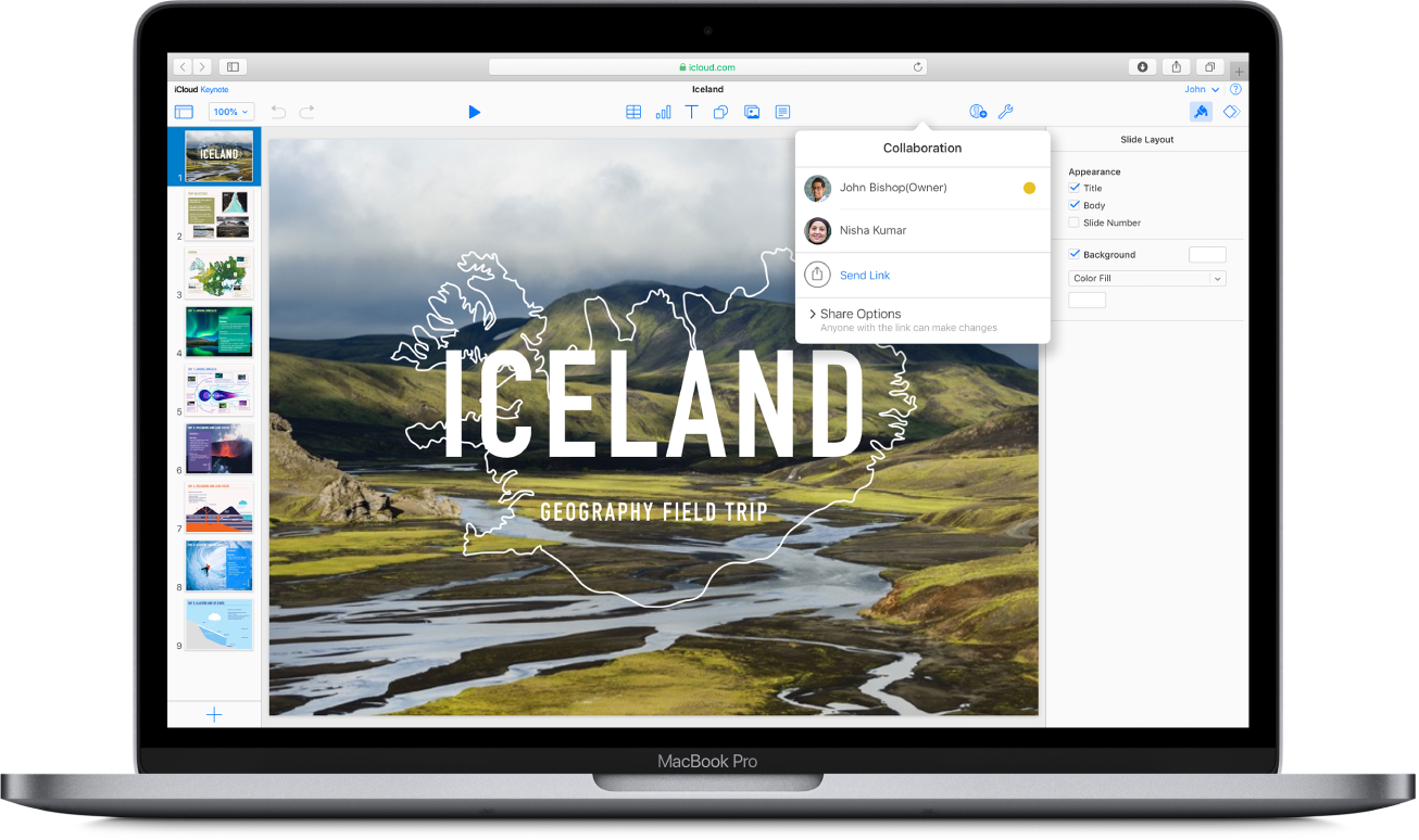 A Keynote presentation called 'Iceland: Geography Field Trip' is shown on iCloud.com. The Collaboration pop-up window is open, showing that it is shared by two people.
