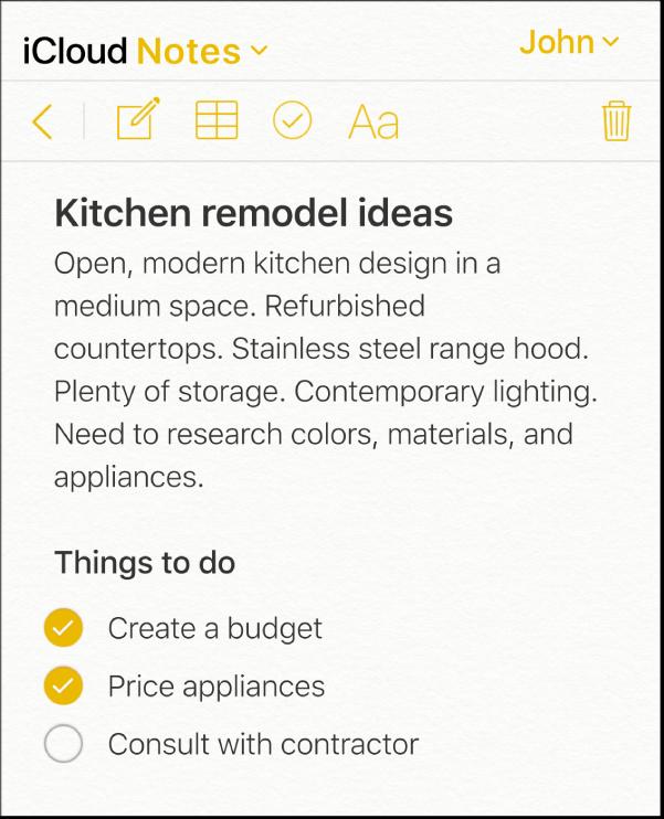 """Una nota di iCloud denominata """"Kitchen remodel ideas"""". Include un elenco di controllo chiamato """"Things to do"""" con due elementi sbarrati."""