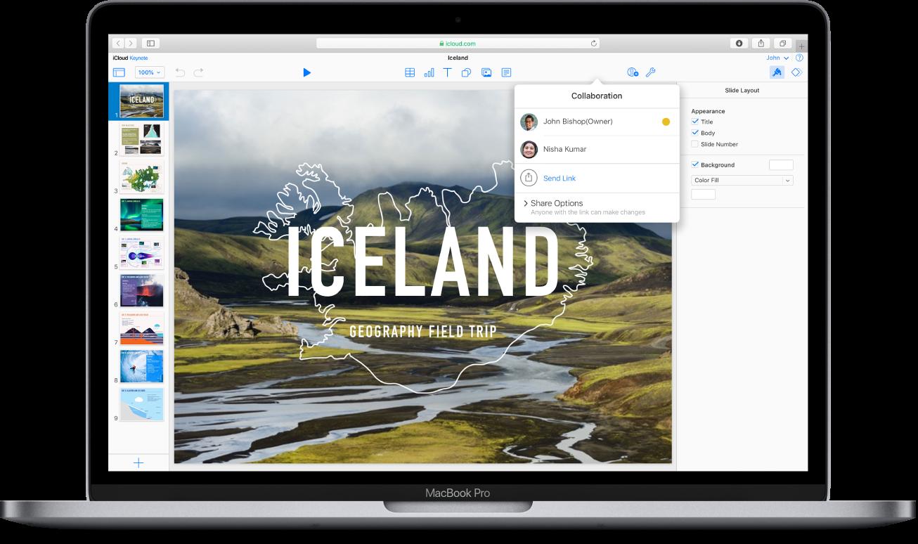 「Iceland: Geography Field Trip」(アイスランド:地理学フィールドトリップ)というKeynoteプレゼンテーションがiCloud.comに表示されています。「共同制作」のポップアップウインドウが開いていて、2人のユーザで共有しているファイルであることが示されています。