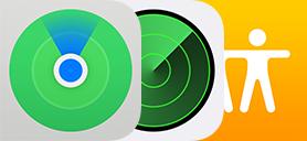 Iconen voor 'Zoek mijn', 'Zoek mijn iPhone' en 'Zoek mijn vrienden'.
