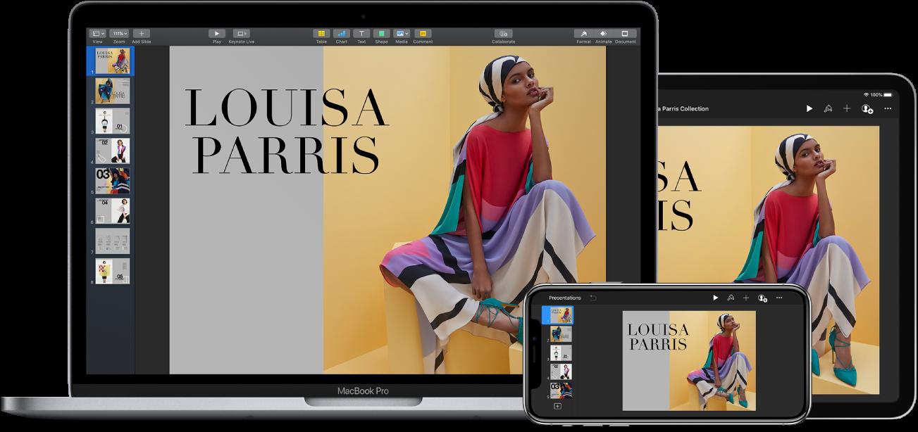 Dezelfde Keynote-presentatie weergegeven in een venster van de editor op een iPhone, iPad en Mac.