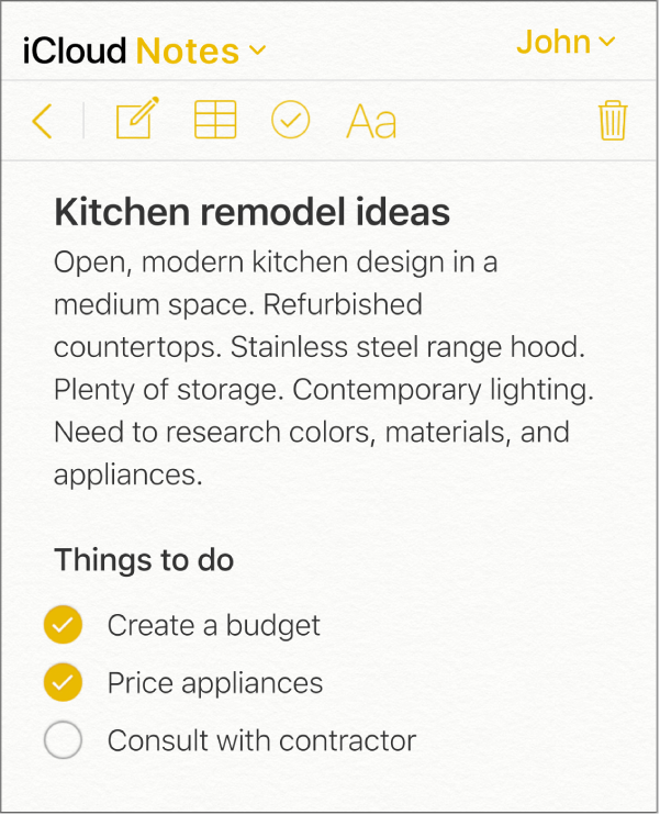 Een iCloud-notitie met de titel 'Ideeën keukenrenovatie'. Deze bevat een checklist met de naam 'Taken' en twee afgevinkte items.