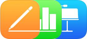Pages-, Numbers- og Keynote-ikonene.