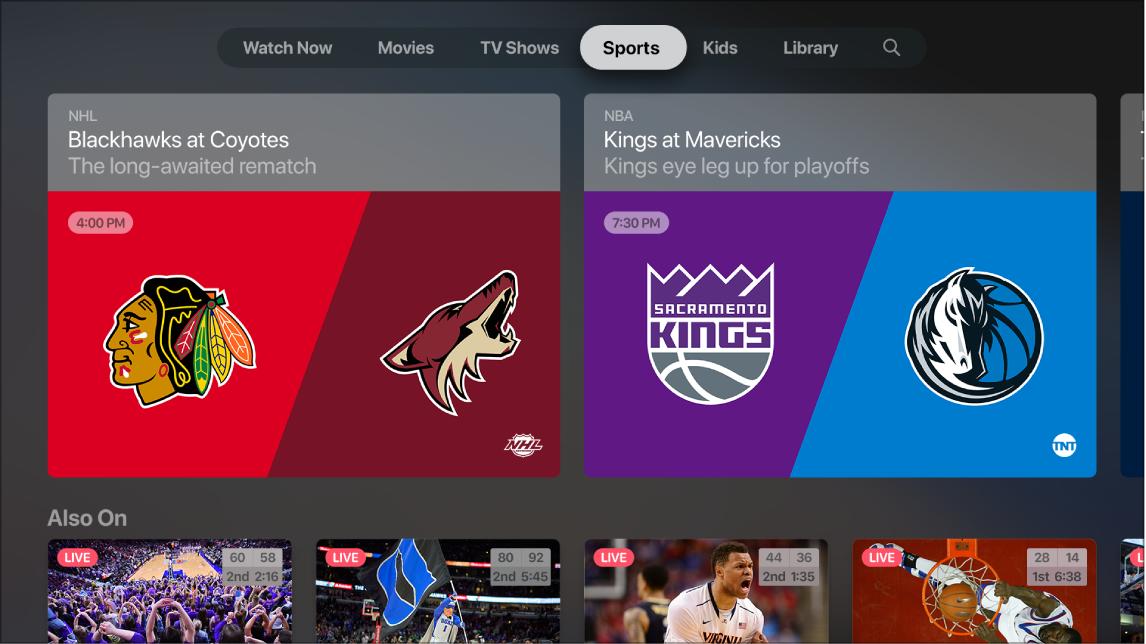 Screen showing Sports