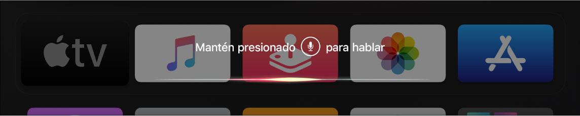 Pantalla de inicio mostrando un mensaje de Siri