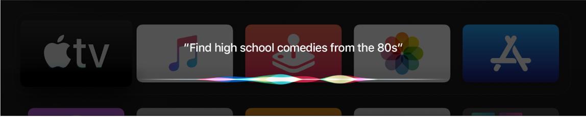 Pantalla mostrando una búsqueda de películas por género y fecha con Siri