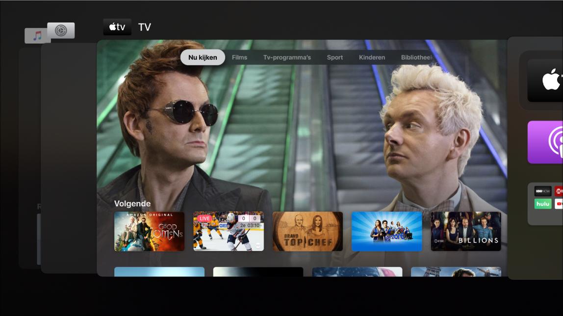 Scherm van AppleTV met de appkiezer