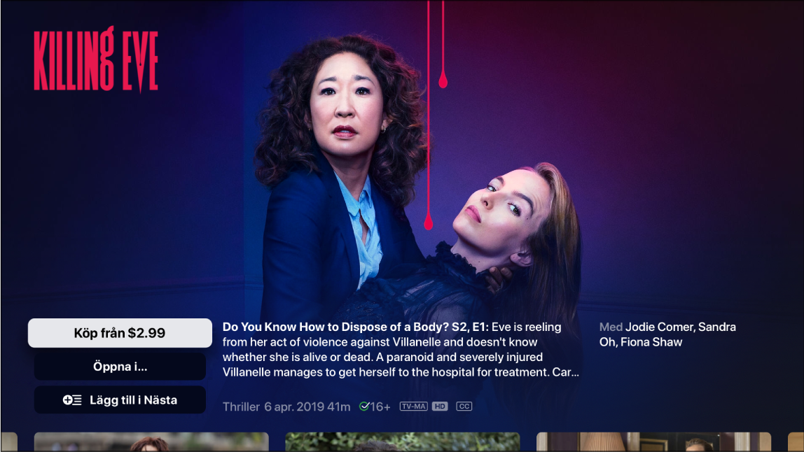 Skärm med sökskärmen för ett TV-program